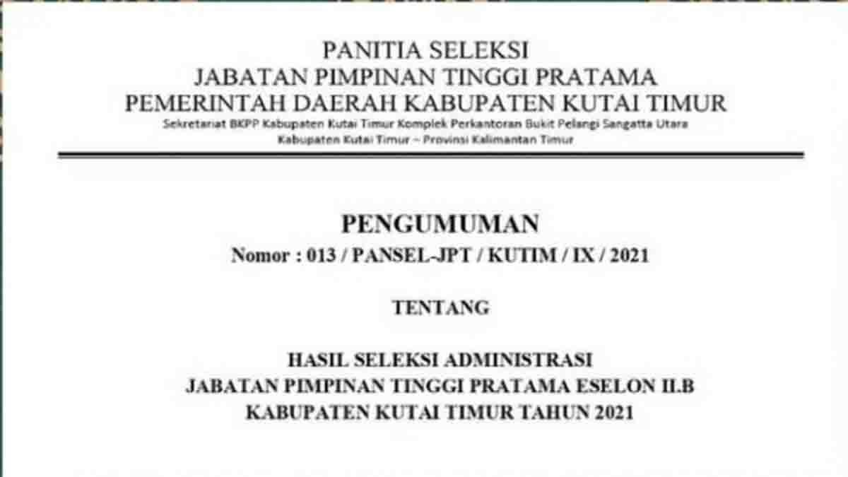 Sebanyak 56 Pelamar JPT Pratama Lolos Administrasi